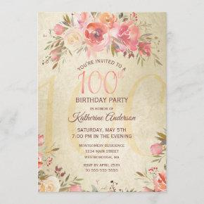 100th Birthday Floral Roses Gold Shimmer Party Invitation