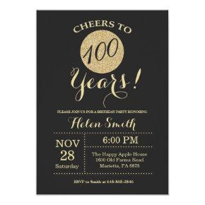 100th Birthday Invitations Black and Gold Glitter