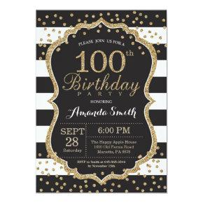 100th Birthday Invitation. Black and Gold Glitter Invitation