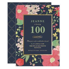 100th Birthday Invitations - Gold, Elegant Floral