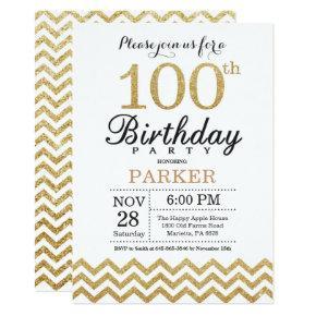 100th Birthday Invitations Gold Glitter