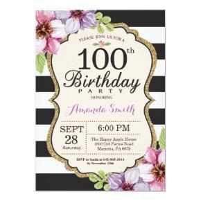 100th Birthday Invitation Women. Floral Gold Black
