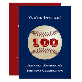 100th Birthday Party Baseball Blue and Red Invitation