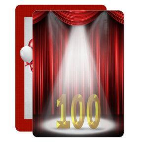 100th Birthday Party in spotlight Invitations