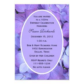 100th Birthday Party Invitations Hydrangeas