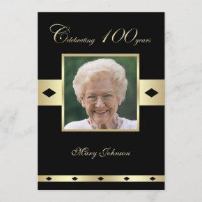 100th Birthday Party Invitation Photo 100th