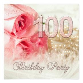 100th Birthday party invitation, roses and pearls Invitation