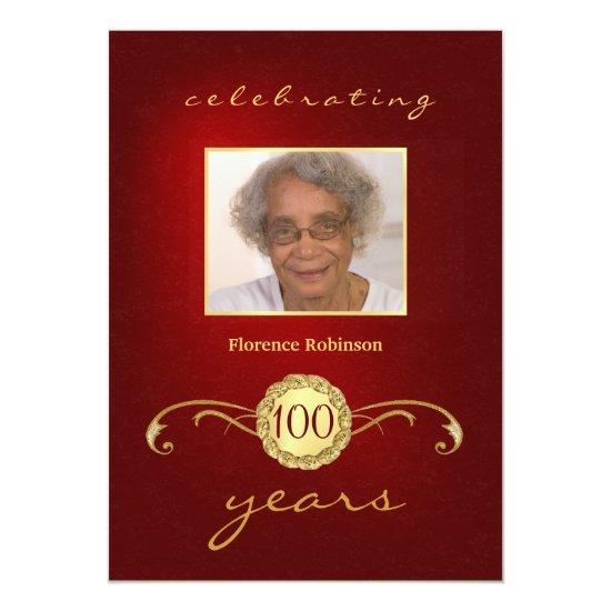 100th birthday party photo invitations red candied clouds