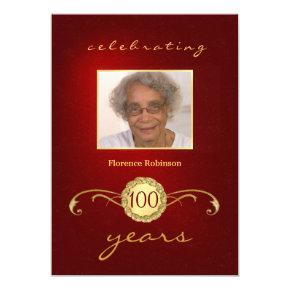 100th Birthday Party Photo  - Red