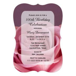 100th Birthday Party Rose Beauty Invitation