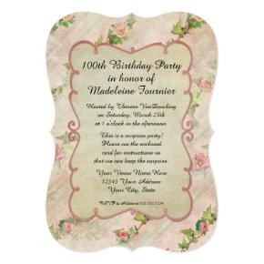 100th Birthday Party Scroll Frame w Vintage Roses Invitations