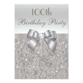 100th Birthday Party Silver Sequins, Bow & Diamond Invitations