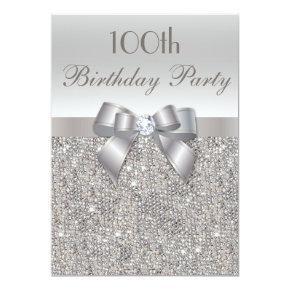 100th Birthday Party Silver Sequins, Bow & Diamond Invitation