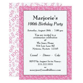 100th Birthday Party Theme Pink and White Pattern Invitations