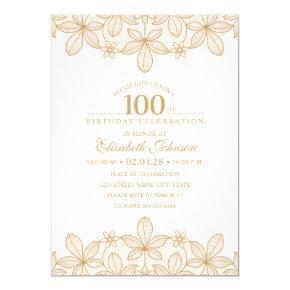 100th Birthday Party Unique Golden Lace Invitation