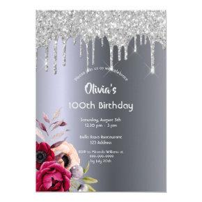 100th birthday Silver glitter drip burgundy floral Invitation