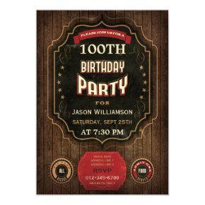 100th Birthday Vintage Chalkboard & Wood Card