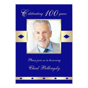 100th Photo Birthday Party Invitations Navy