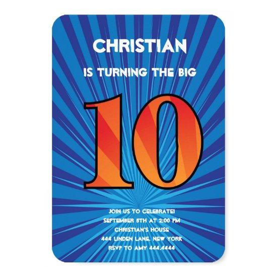 10th Birthday Party Invitations Boy