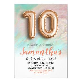 10th Birthday Rose Gold Marble Invitation