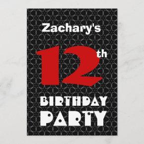 12th Birthday Modern Teen Black and White Pattern Invitation