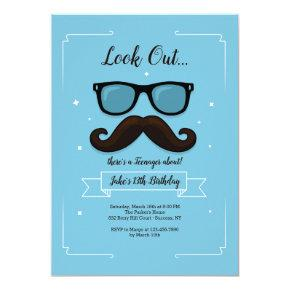 13 Mustache Birthday Party Invitation