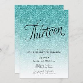 13th Birthday Blue Ombre Glitter Invitation
