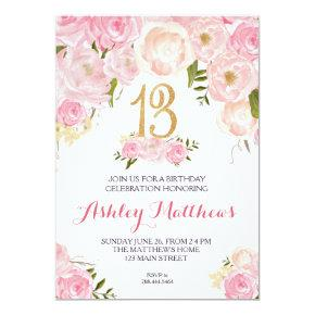 13th birthday Floral Invitation, Invitation