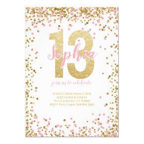13th Birthday Girl Pink Gold Glitter Confetti Invitation