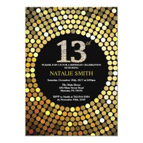 13th Birthday Invitations Black and Gold Glitter