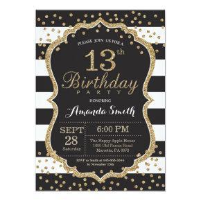 13th Birthday Invitation. Black and Gold Glitter Invitation