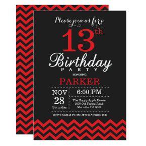 13th Birthday Invitation Black and Red