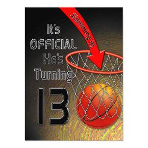 13th Birthday Invitations- Boy - SLAM DUNK Invitations