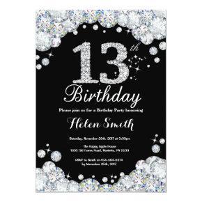 13th Birthday Invitation Chalkboard Silver Diamond