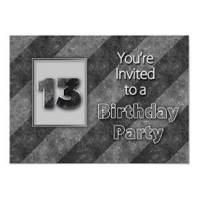 13th Birthday Invitation, Cool Gray/Black Stripes Invitation