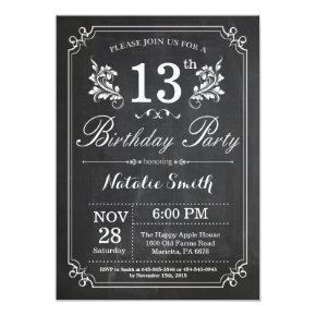 13th Birthday Invitations Floral Chalkboard