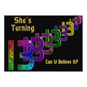 13th Birthday Invitations - Girl - Numbers