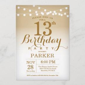 13th Birthday Invitation Gold String Lights