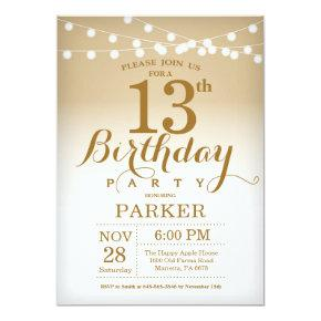 13th Birthday Invitation Gold String Lights