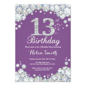 13th Birthday Invitation Purple and Silver Diamond