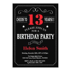 13th Birthday Invitation Red and Black Chalkboard