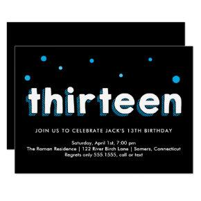 13th Birthday Invitations, Sketched Letters, Blue Invitations