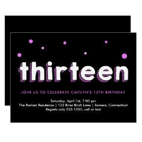 13th Birthday Invitation, Sketched Letters, Purple Card