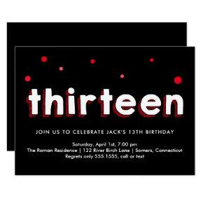 13th Birthday Invitations, Sketched Letters, Red Invitations