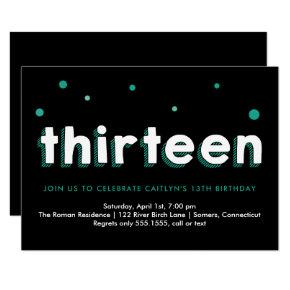 13th Birthday Invitations, Sketched Letters, Teal Invitations