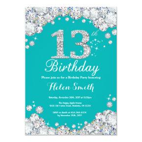 13th Birthday Invitations Teal and Silver Diamond