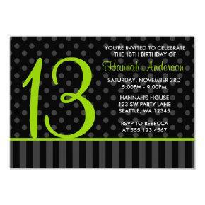 13th Birthday Lime Green Black Polka Dot Stripes Card