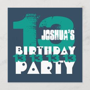 13th Birthday Party 13 Year Old Grunge Z13A Invitation