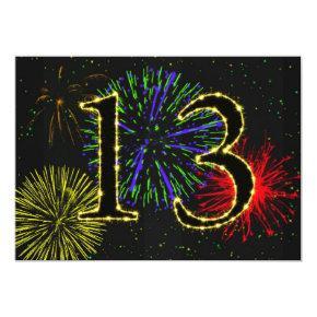 13th birthday party invitate card