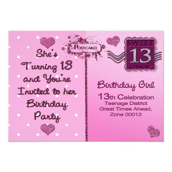 13th birthday party invitation postcard front candied clouds 13th birthday party invitation postcard front filmwisefo